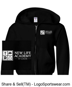2019 NLA Crusader Youth Sweatshirt w/zipper Black Design Zoom