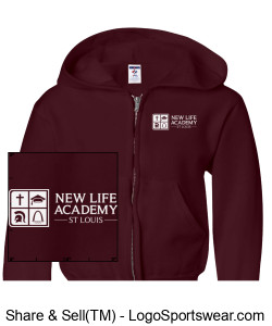2019 NLA Crusader Youth Sweatshirt w/zipper Maroon Design Zoom